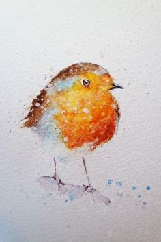 How to paint a robin in 8 easy steps. Step 1 Draw your robin. Step 2 Paint the eye, remember to leave some light in the eye and add some very dark darks. Step 3 Paint his red breast, which isn't just red but yellow , orange and browny red, blend an Watercolor Paintings For Beginners, Watercolor Portraits, Watercolour Techniques, Watercolour Tutorials, Watercolor Christmas Cards, Watercolor Bird, Watercolor Landscape, Watercolour Painting Easy, Watercolor Artists