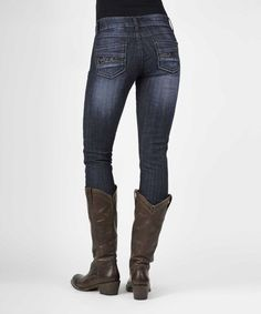 Look at this Stetson Navy Embellished Skinny Jeans - Women on today! Western Jeans, Build A Wardrobe, Jeans Skinny, Affordable Clothes, Looking For Women, Skater Dress, Cowboy Boots, Riding Boots, Style Me