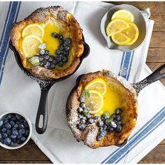 Mini Dutch Babies w/ Homemade Lemon Curd & #Blueberries by @nerdswithknives…