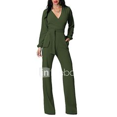 42f0a297624 Women s Holiday   Casual   Daily   Club Street chic Deep V Navy Blue Army  Green Royal Blue Wide Leg Jumpsuit