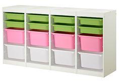 TROFAST Aufbewahrungskombi IKEA Es liegen ausreichend Schienen bei, um Schubladen und Böden nach Wunsch anzubringen.