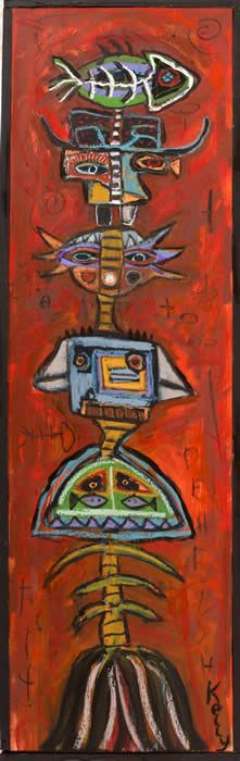 """""""Green Fish Totem"""" by Santa fe New Mexico artist Kelly Moore who's painting studio is at the Tesuque Flea Market"""