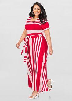 Striped T-Shirt Maxi dress by Ashley Stewart.