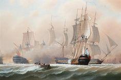"""Manche Ereignisse auf See verändern die Welt für immer. Timothy Franklin Ross Thompson, (*1951) H.M.S. """"Bellerophon engaging two enemy 74's at Trafalgar"""", oil on canvas, 61 x 91,4 cm. Lust auf eine neue Blickrichtung? www.dberona.com"""