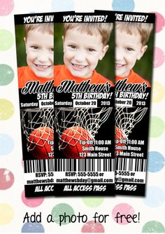 Basketball Birthday Party Invitation Ticket Style You Print Digital File on Etsy, $12.99