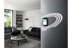 Gira zeigt das Wohnzimmer eines Smart Homes mit einer digitalen Bedieneinheit, in Augenhöhe an der Wand montiert. Gira | www.gira.at Modern, Flat Screen, Living Room, Homes, House, Blood Plasma, Trendy Tree, Flatscreen, Dish Display