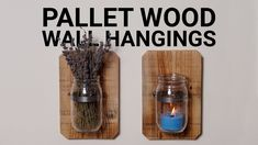 This is how I made some rustic wall hangings from pallet wood and glass jars. Uses For Mason Jars, Diy Mason Jar Lights, Mason Jar Light Fixture, Fall Mason Jars, Mason Jar Sconce, Mason Jar Candles, Mason Jar Lighting, Mason Jar Diy, Wall Hanging Crafts