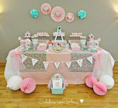 Shabby Chic Home Decor Spa Party, Baby Party, Baby Shower, First Birthday Parties, Girl Birthday, Candy Bar Comunion, Cumpleaños Shabby Chic, Fiesta Party, Cookies Et Biscuits