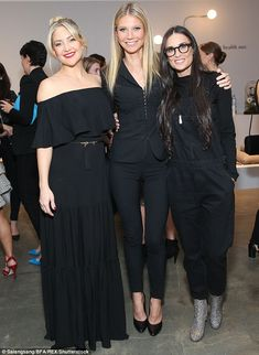 Ladies in black! The actress was joined by celebrity pals Kate Hudson, 37, and Demi Moore, 54, for the evening