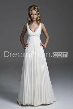 Cheap Attractive Empire V-neck Ruffling Chiffon Wedding Dresses