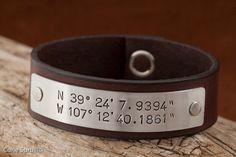 Anniversary Gift For Men - Custom Latitude Longitude Leather Bracelet. $40.00, via Etsy.