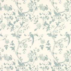 Summer Palace Off White/Duck Egg Blue Wallpaper at Laura Ashley