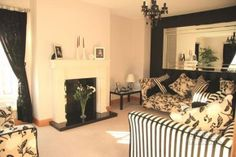 Black and White living room, large mirror at 5 Old Clare Lodge, Clare, Tandragee