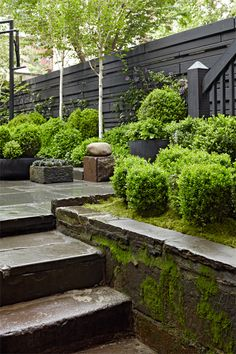 Julianne Moore's townhouse garden on West Street NYC designed by Brian Sawyer ~ Sawyer Berson Inspired by the gardens of Ireland, this courtyard features antique bluestone sidewalk paving slabs, a fountain created from an old English sandstone troug Landscape Architecture, Landscape Design, Garden Design, Dream Garden, Home And Garden, Townhouse Garden, Small Courtyards, Garden Styles, Garden Projects