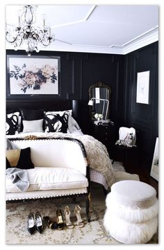 Dark patterned bedroom - Patternsnap blog 'Queen Kate's House Tour' involving patternsnap's fake peek into Kate Moss's home.