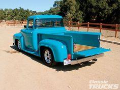 56 Ford That's a striking color. 1956 Ford Truck, Old Ford Trucks, New Trucks, Custom Trucks, Pickup Trucks, Antique Trucks, Vintage Trucks, Hot Rod Trucks, Cool Trucks