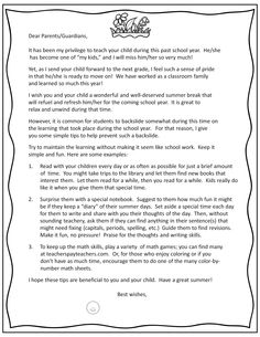 Free End of Year Parent Letter with tips to avoid the Summer Backslide