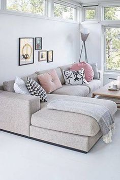 Sofa // ☆neutral living room ~ white walls & floor, beige couch, minimalist gallery wall + lots of light Living Room White, White Rooms, Home Living Room, Living Room Designs, Living Room Decor, Living Spaces, White Walls, Cozy Living, Living Area