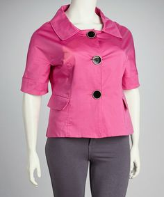 Take a look at this Live A Little Hibiscus Portrait-Collar Plus-Size Jacket by Live A Little on #zulily today!