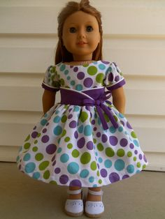 "Made to Fit American Girl and 18"" Doll-Dots Galore-Fifties Flair-Originial KeepersDollyDuds Design - EM209"
