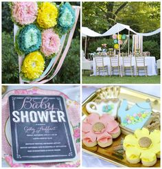 Garden Party Baby Shower via Kara's Party Ideas //From the darling Garden-inspired cookies to the adorable floral ribbon backdrop, creating the most perfect photo op, this party is sure to set your party wheels a spinning!