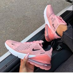 Nike Shoes OFF! ►► Update your sneaker style with this Nike Air Max 270 Womens Shoe in pink. One of the most popular Nike sneakers of Cute Shoes, Women's Shoes, Me Too Shoes, Shoes Sneakers, Pink Nike Shoes, Shoes Style, Yeezy Sneakers, Sneakers Outfit Nike, Nike Air Max Shoes