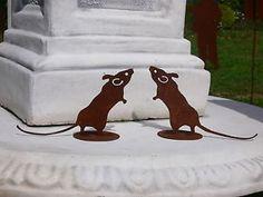 Maus Ratte stehend auf Platte Edelrost Rost Gartendekoration Rostfigur Figur