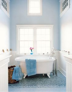 Pretty pale blue bathroom: 'Borrowed Light' by Farrow & Ball in Nantucket beach house by xJavierx, via Flickr