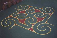 A pin wheel labyrinth created for a playground on Sacramento Street in China Town in San Francisco.