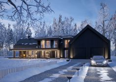 MODERN BLACK WINTER HOUSE (vis. for lk-projekt.pl) on Behance