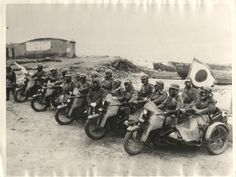 1932- Mounting a machine gun and carrying a crew of three, these motorcycles are used by the Japanese army in reconnaissance work, advance guard, etc. in the Manchurian campaign.