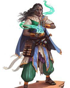 """Garundi Female"" illustrated by Nemanja Stankovic. . . #paizo #pathfinderrpg #pathfinder #cardgames #cardgame #art #arte #artwork #illustration #illustrate #illustrator #artoftheday #blackwoman #blackwomen #darkskinned #darkskin #magic #magical by nubiamancy"