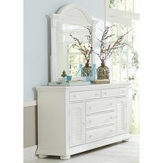 Liberty Furniture Summer House I Collection Bedroom Set with Dresser and Mirror in Oyster White Finish Bedroom Furniture Stores, Shabby Chic Furniture, Furniture Deals, Furniture Outlet, Online Furniture, Condo Furniture, Hooker Furniture, Dresser With Mirror, Dresser Drawers