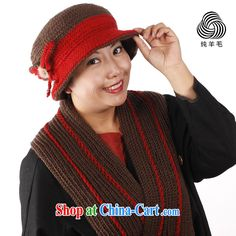 a7cd4177f2584 Autumn and Winter cap Ms. Hand hook warm quilted wool spell color of cap hat