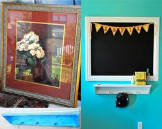 frame turned chalkboard - before and after by JonaG