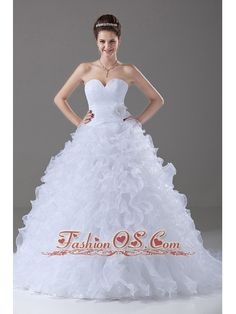 Ruffles Ball Gown Sweetheart Brush / Sweep Organza 2013 Wedding Dress  http://www.fashionos.com/  http://www.facebook.com/quinceaneradress.fashionos.us  This wonderful gown features a sweetheart neckline with the ruched bodice decorated with a hand made flower at the waist.The a line skirt is gorgeous for the beautiful ruffles and it extends to the back to be a brush train.Lace up corset back completes the whole design.Perfect for your dreaming wedding!