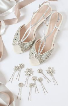 Jude Silver Flat Bridal Sandals and Crystal Daisy Pins Wedding Hair Accessories from Emmy London www.emmylondon.com
