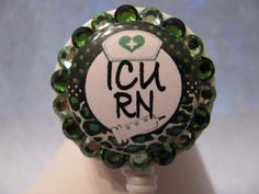 ICU RN Nurse Retractable ID Badge Reel Leopard Print using Swarovski Crystals by sparklinghope on Etsy https://www.etsy.com/listing/254230408/icu-rn-nurse-retractable-id-badge-reel