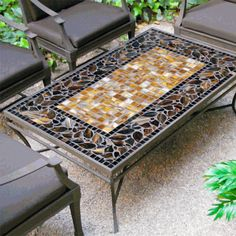 Create a beautiful centerpiece for your conversations and entertaining with our mosaic Coffee Chat table. This expertly crafted mosaic design features hand laid tumbled marble and stained glass, se. Mosaic Tile Table, Mosaic Coffee Table, Mosaic Pots, Mosaic Glass, Stained Glass, Mosaic Table Tops, Mosaic Outdoor Table, Tile Tables, Mosaic Crafts
