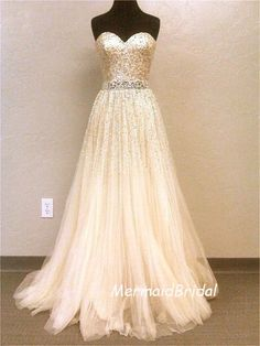 2013 Ivory A-line wedding dress, Gold Sequins applique tulle wedding dress, sweetheart neckline with beading band. $328.99, via Etsy.