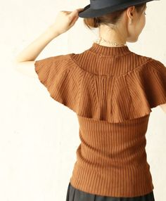 【楽天市場】【再入荷♪10月19日12時&22時より】(ブラウン)「french」羽フリル袖の伸縮カットソートップス:cawaii
