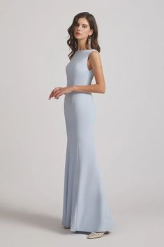 Jewel Sleeveless Plain Blue Keyhole Back Sheath Bridesmaid Dresses – Alfabridal Inexpensive Bridesmaid Dresses, Knee Length Bridesmaid Dresses, Designer Bridesmaid Dresses, Trumpet Gown, Floor Length Gown, Fancy Party, Floral Chiffon, Different Fabrics, Sleeve Styles