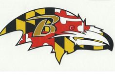 Ravens bird with Maryland flag