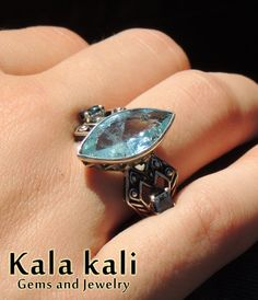 Aquamarine Eye Faceted AA Quality Gem and 2 Square by KalaKali, €220.00