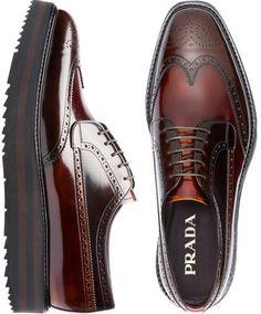 Double Match 55 silk foulard - Prada Shoes - Ideas of Prada Shoes - I did not know that Prada made shoes for men so here is my favorite Prada Brogue -Shoes Mens Fashion Shoes, Men S Shoes, Fashion Boots, Leather Men, Leather Shoes, Prada Backpack, Dress Shoes, Men Dress, Prada Men