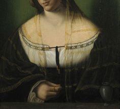 Bartolomeo Veneto, Portrait of a lady as Mary Magdalen (detail), c.1520