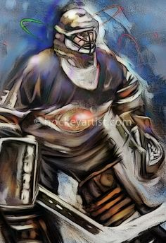 """The Astronomer -  Watercolour and Digital painting of a Hockey Goalie who was also an Astronomer. """"As a boy growing up in a northern rural town, he loved the stars. Playing pond hockey he would always be stuck in goal, and often caught off guard while star-gazing at the twinkling skies.... """" Read the story about the Astronomer at http://hockeyartist.com/the-goalie-archives-1-the-astronomer/"""