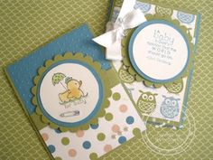 Snowmanlover's Paperie~Stampin' Up! Demonstrator: Stampin' Up Nursery Nest Designer Paper~Baby Cards