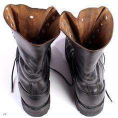 Mens Combat Boots. Stivali Biker di pelle nera. di BetaMenswear