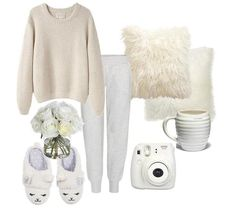 ~My Polyvore outfit~ All in white LA GARÇONNE MODERNE Sylvia Alpaca Handknit Pullover, Boy by Band of Outsiders Track Pants, Cubus Slippers, Instax 8 Mini #Cubus #FujiFilm #Instax #Instax8Mini #TrackPants #WhiteRoses #Allinwhite #Coffee #WhiteCup #RelaxTime #WhitePillows #FluffyPillows